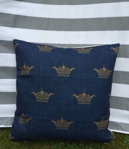CROWN Housse De Coussin Designer moderne Regal Bleu Marine Queen Royal