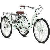 Adult Tricycle Trike Cruise 1 Speed Mint Green 3 Wheeled 26 Bike With Basket