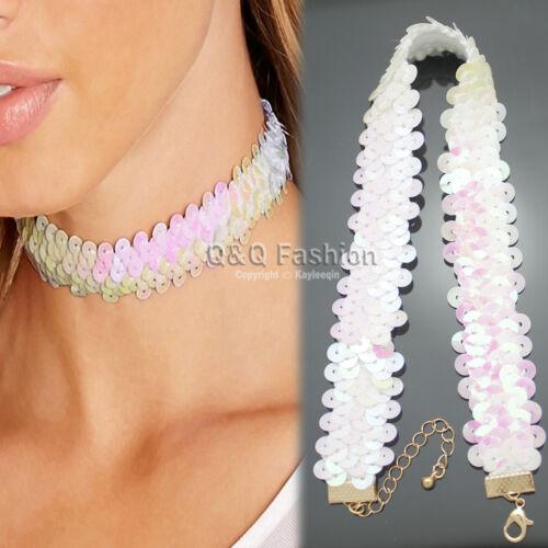 Blogger Girls Party Shiny Hologram Sequin Tie Choker Collar Bib Wrap Necklace