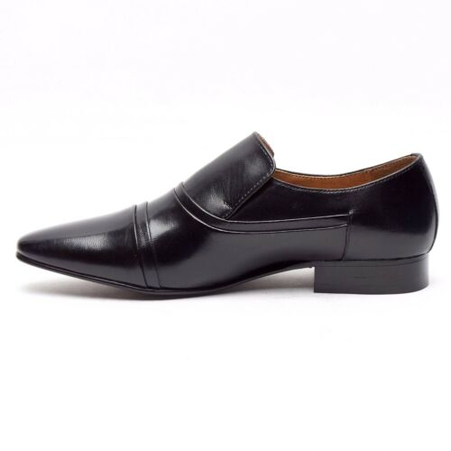 Lucini Mens Leather Slip On Shoes Smart Formal Wedding Shoes Black /& Brown