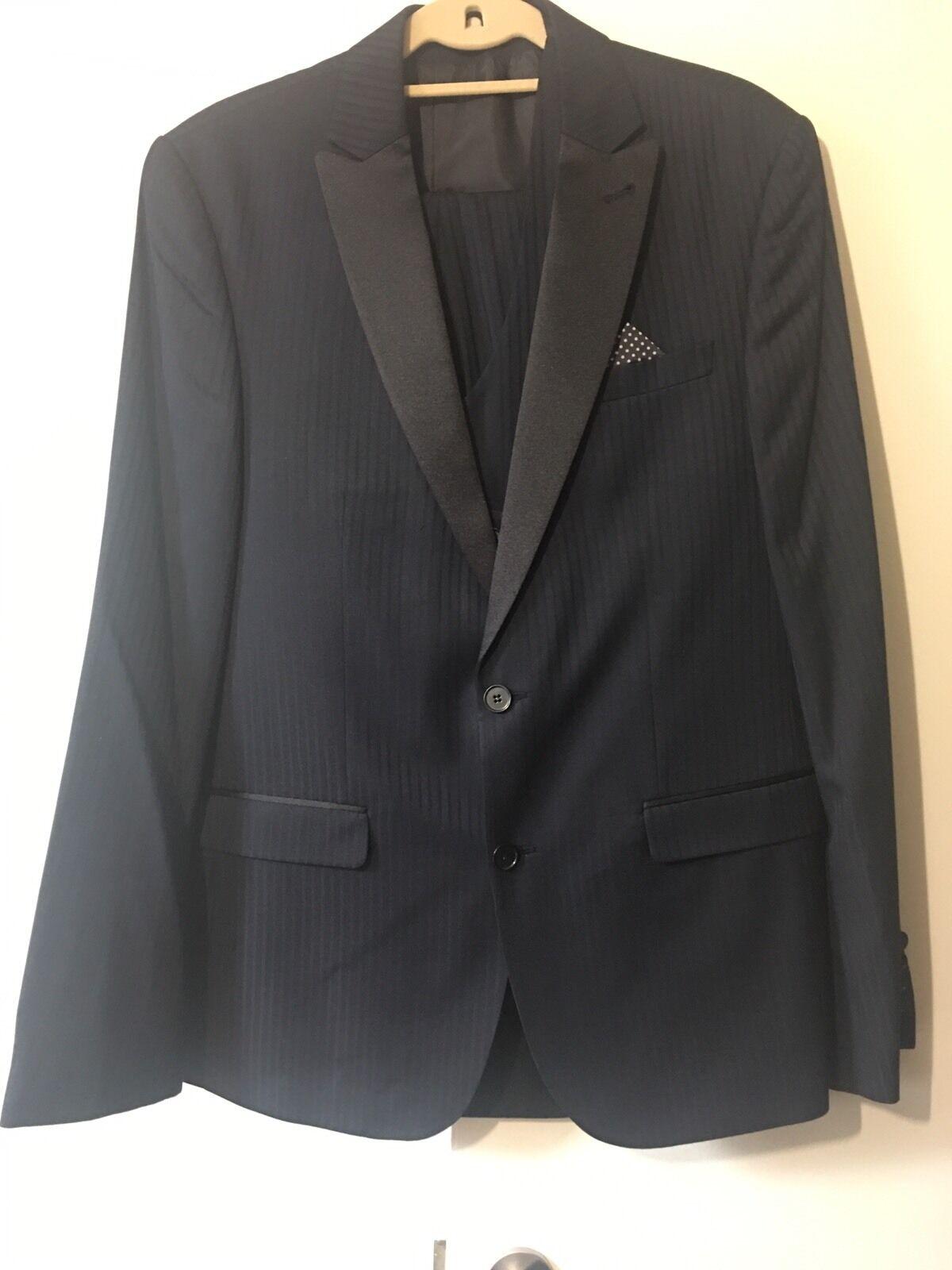 Mens Asos 3 Piece Suit New 42 Blazer & Waistcoat 34 Trousers Navy Pin Stripe