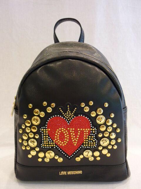 MOSCHINO JC4105PP18LT0000 borsa zaino in ecopelle nera con borchie oro e rosso