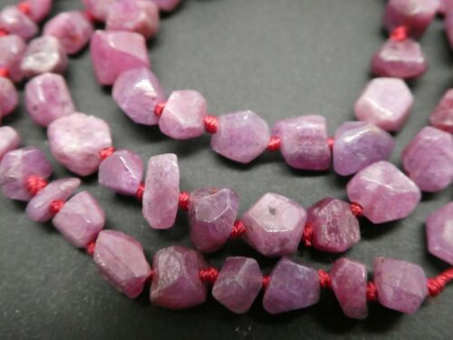 "Natural Genuine Madagascar Ruby Freeform Nugget Gemstone Knotted Bead Strand 16/"""