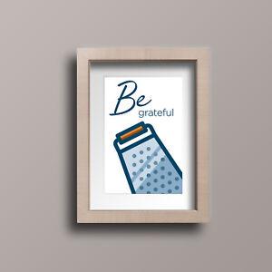 Details About Be Grateful Kitchen Art A4 Canvas Paper Print Home Decor