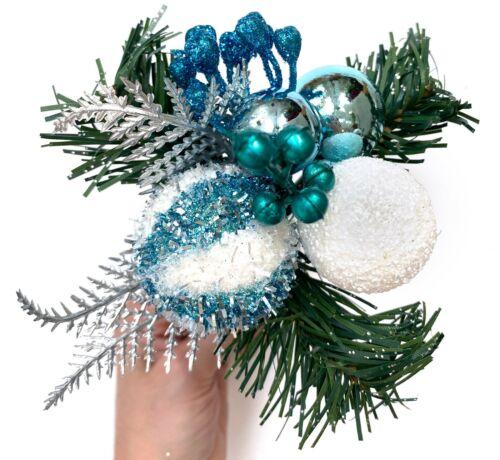 Glitter Berries Aqua Blue White Ball Christmas Pick Tree Wreath Table Decor R