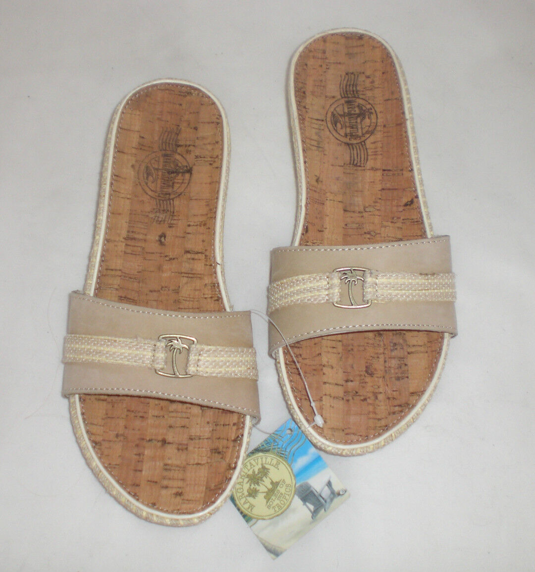 Margaritaville Newport Slide sandals leather sz 6 Md NEW