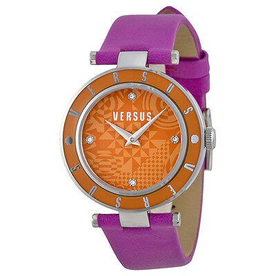 Versus by Versace Logo Orange Geometric Dial Pink Leather Ladies Watch SP8060014