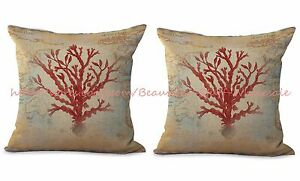 Us Seller 2pcs Coral Seaside World Map Cushion Cover Throw Pillow