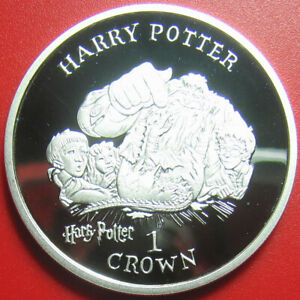 2001-ISLE-OF-MAN-1-CROWN-SILVER-PROOF-HARRY-POTTER-RON-HERMIONY-HAGRID-NORBERT