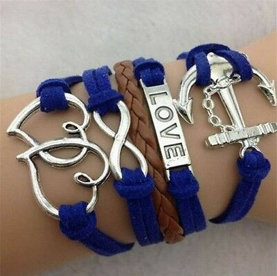 NEW Blue Infinity Love Anchor Leather Cute Charm Bracelet plated Silver DIY SL94