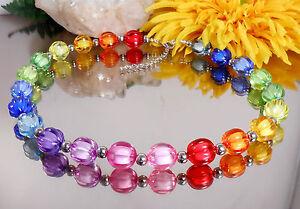 FARBENFROHES-Collier-Halskette-Regenbogen-BEAD-in-BEAD-Perlen-rund-facettiert