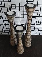 3 Teelichthalter im modernen Design, Mangoholz, Kerzenständer Trio