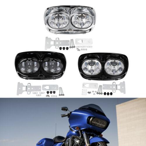 Inner Outer Fairing 5.75/'/' Dual LED Headlights For Harley Road Glide 1998-2013