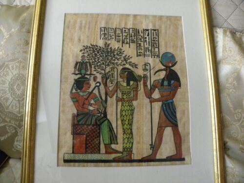 "EGYPTIAN HAND PAINTED 21"" X 17 12 "" PAPARUS QUEEN & GODDESS, PHAROH"