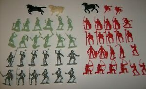 MARX-amp-MPC-VIKING-HORSES-RED-amp-SILVER-KNIGHTS-51-PLAYSET-LIGHT-GREEN-FIGURE-LOT
