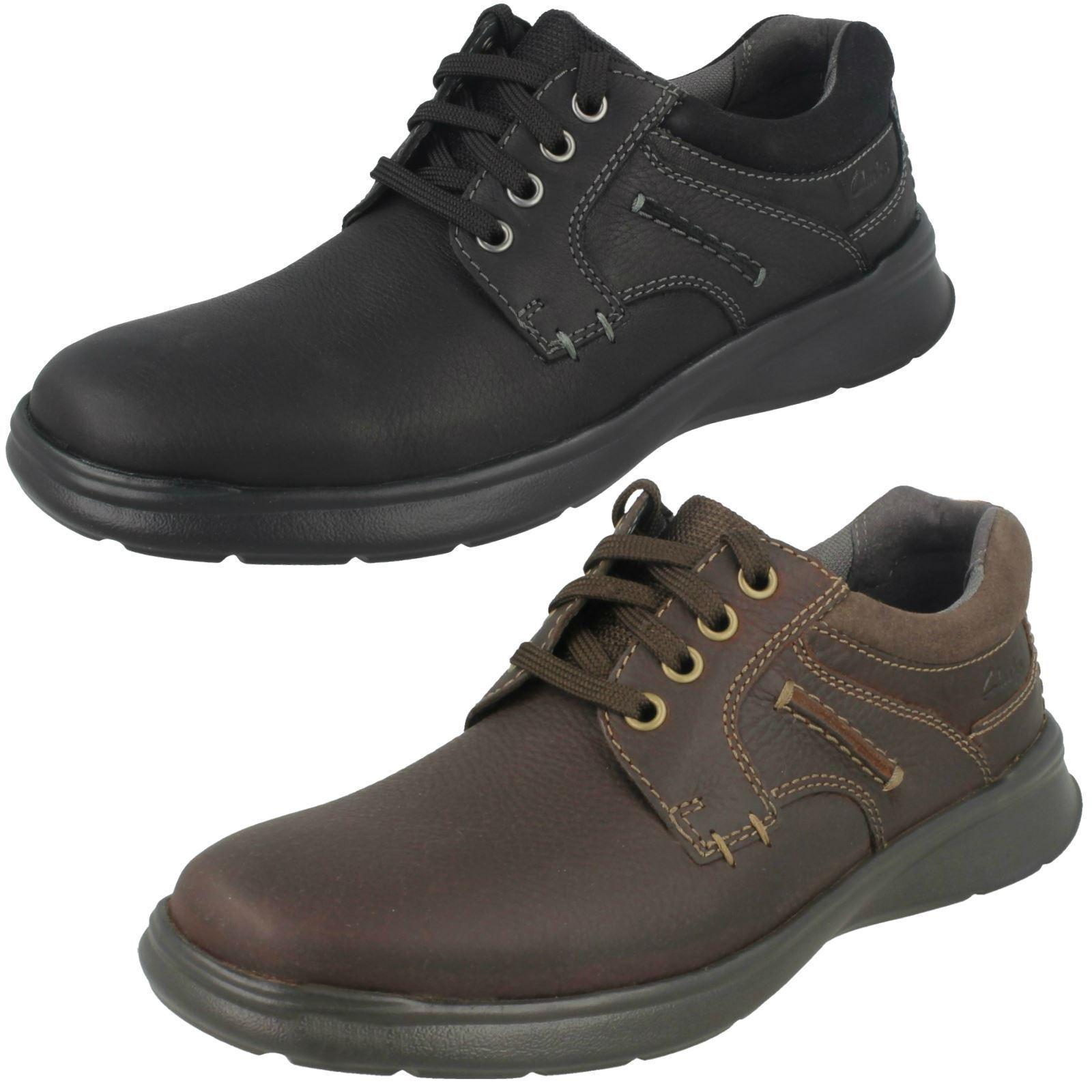 Para Hombre Negro/Marrón Clarks Cuero Zapatos Con Cordones Peso Ligero Cotrell Llano