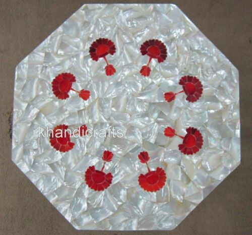 15 Inches Marble Side Table Top Red Jasper Art Coffee Table with MOP Random Work