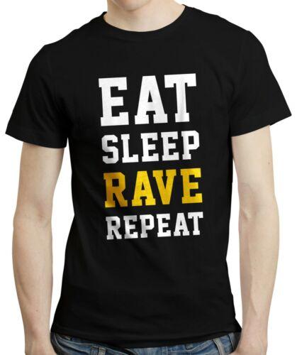 Comer Dormir Rave Repeat-Tee Música Baile Fiesta Regalo Cumpleaños ácido T-Shirt Camiseta