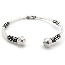 Bali Style Sterling Silver Ball-Ends Cuff Bangle Bracelet
