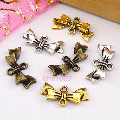 15Pcs Tibetan Silver,Gold,Bronze Cravat Knot Charm Connectors 9.5x19.5mm M1230