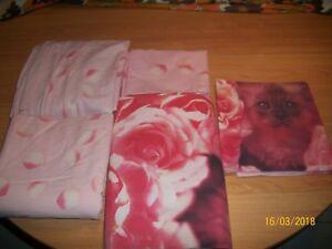 1 Parure Complete Tons Rouge Et Rose Motifs Ronds Et Autres 1 Personne