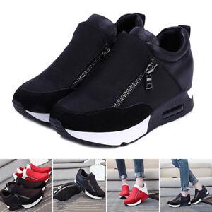 New Women Sneakers Zip Wedge Hidden Heel Running Sport Gym Casual ... 63d495910d