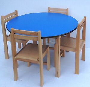 Image Is Loading Kids Beech Wood Round Table Stacking Chairs Classroom