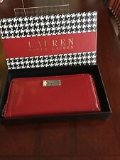 Ralph Lauren Leather Chiswell S Zip Around Women's Wallet Clutch Purse