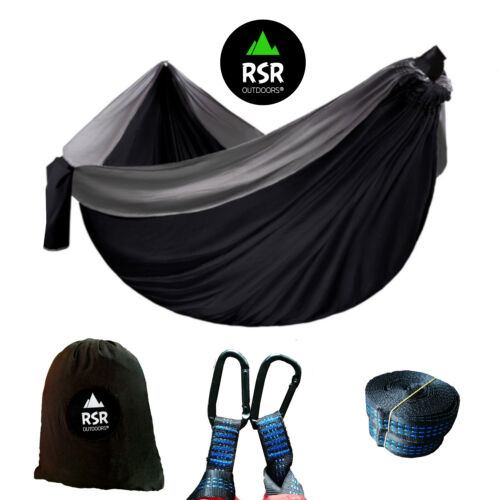 Grey Double Lightweight Travel Outdoor Parachute Camping Hanging Hammock Person