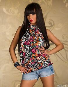Blusa-Camicia-Donna-Maglia-GIORGIA-B458-Fantasia-Floreale-Tg-Unica-veste-S-M