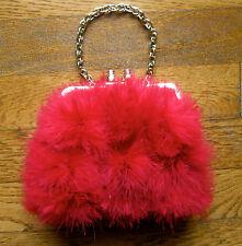 KATE SPADE NEW YORK Red Feather Satin Evening Handbag PURSE CLUTCH BAG OSTRICH