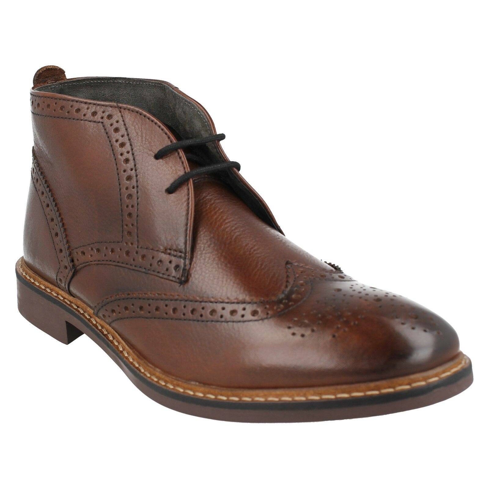 MENS BROWN LEATHER FORMAL SMART BROGUE ANKLE BOOTS BASE LONDON TRICK SIZE 7 - 12