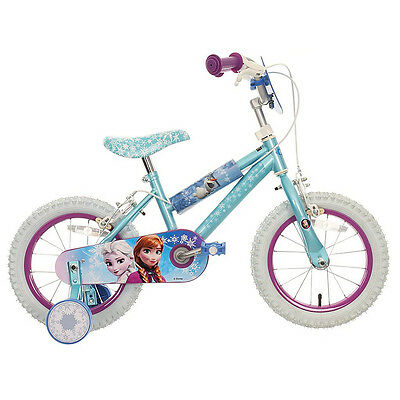 "Halfords Disney Frozen Kids Girls Bike Bicycle 14"" Inch Wheels With Stabilisers"