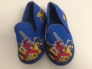 d12e725f0b023 Details about Power Rangers Shoes Kids Slippers Size 5 Unisex Toddler Child  Blue Vintage MMPR