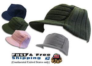 c01ba593e15 NEW Unisex Knit Flat Top Visor Cap Hat GI Military Cadet Jeep Caps ...