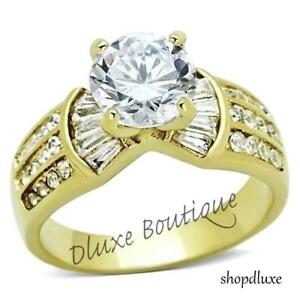 WOMEN-039-S-ROUND-CUT-CZ-14K-GOLD-PLATED-STAINLESS-STEEL-ENGAGEMENT-RING-SIZE-5-10