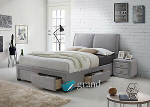 Montana 4 Drawer Storage Fabric Bed Upholstered Light Dark Grey