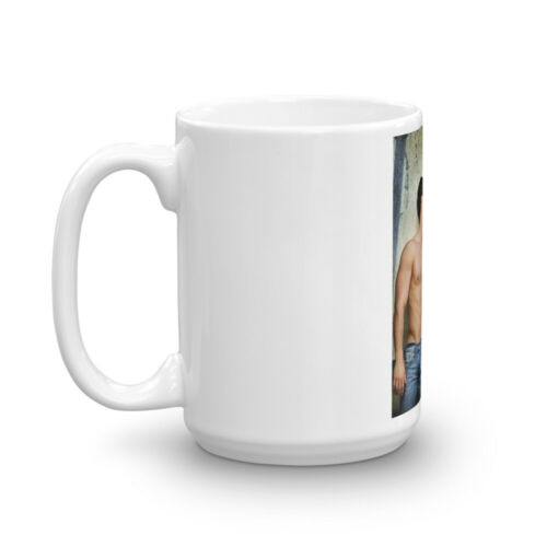 Hot Shirtless Gay Male Couple in Jeans Kissing Coffee Mug