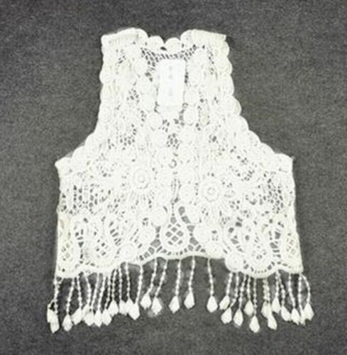 Toddler Kids Baby Girls Crochet Lace Hollow Cardigan Tops Vest Tassel Waistcoat
