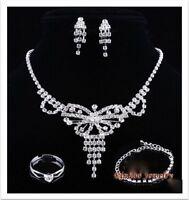 Rhinestones Butterfly Necklace,bracelet, Earrings, Ring Bridal Party Jewelry Set