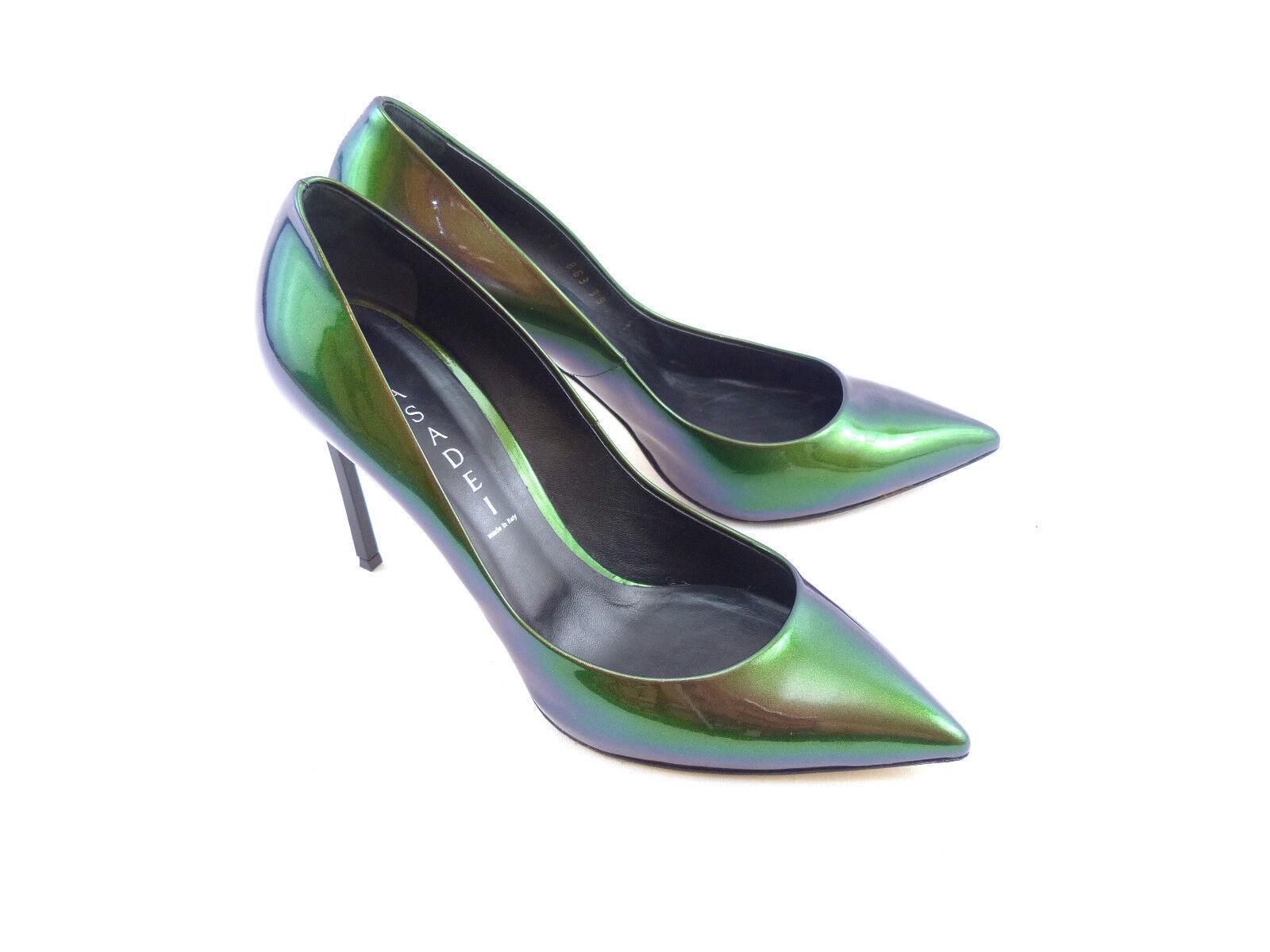 Casadei Blade Green Iridescent Calf Leather ] [ 55% OFF  ] Leather 7075e1
