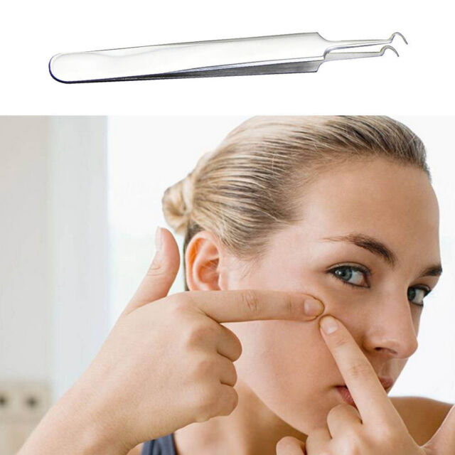 1Pcs Bend Curved Facial Extractor Blackhead Acne Tweezers Needle Blemish Remover