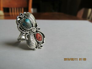 Vintage American Indian TURQUOISE Coral  sterling Ring
