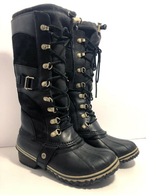 SOREL Women's Conquest Carly Black Leather Winter Snow Waterproof Tall Boots 6.5