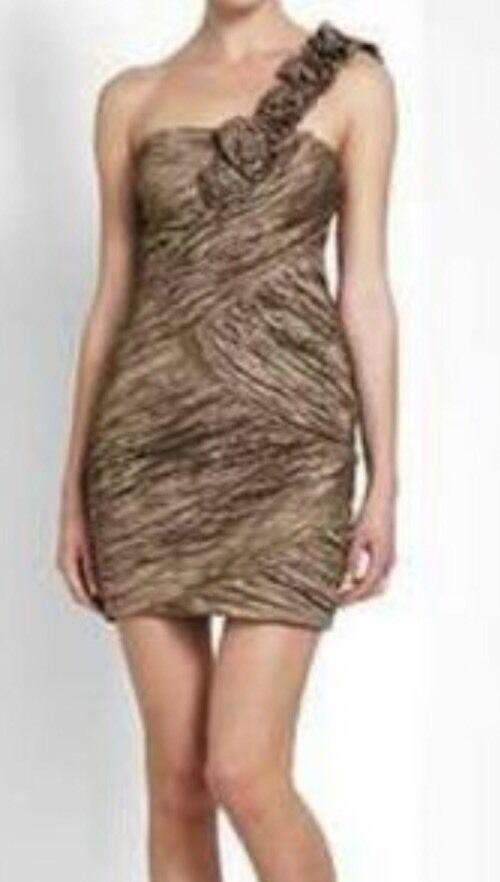 NWT  BCBG MAX AZRIA Fatigue Evangeline One Shoulder Cocktail Dress Größe 0