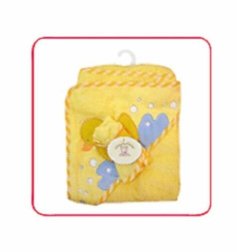 SNUGLY BABY Unisex Woven Hooded Towel With A Matching Wash Cloth Yellow NWT