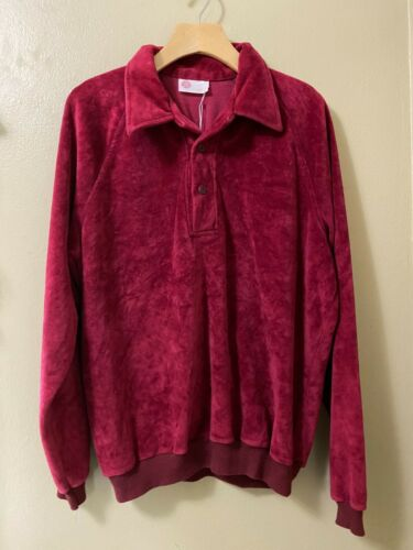 Vintage 70s Men's Kings Road Sears Red Velour Polo