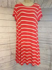 6987f199405bc Signature Studio Red White Striped Crew Neck T Shirt Dress Tunic ...