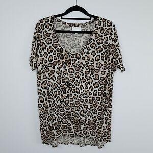 Witchery Women's T Shirt Leopard Print Jersey Scoop Neck Size M