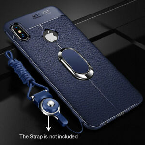 For-iPhone-Xs-Max-Leather-Soft-Rugged-Slim-Ring-Stand-Silicone-Case-Cover-Shell